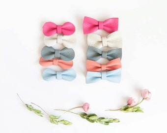 Mini Leather Hair Bow Crocodile Clip or Nylon Spring Headband, Cream, Pink, Sky Blue, Dove Gray, & Coral, Soft Nuetral Color Accessories