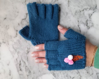 Mittens short with embroidery Митенки с вышивкой
