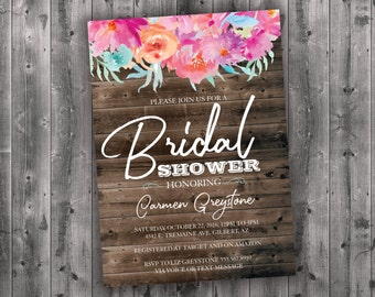Country Bridal Shower Invitations Printed - Watercolor, Floral, Flower, Affordable, Cheap, Wood, Rustic, Charming, Shabby Chic, Barn