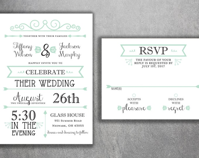 Mint Green and Black Wedding Invitations Set Printed - Cheap, Affordable Invites, Elegant, RSVP, BOHO, Rustic, Modern, Chalkboard, Country
