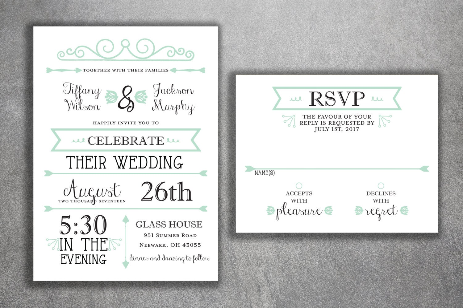 Cheap Wedding Invites Online: Mint Green And Black Wedding Invitations Set Printed Cheap
