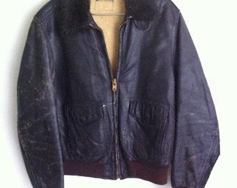 Pilot Short Vintage Brown Genuine Leather Jacket Rocker Style Men's Size Large.