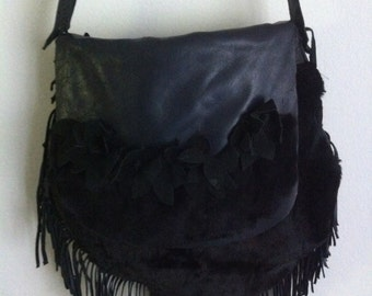 Crossbody bag, from real rabbit fur, leather and leather fringe, decorated with flowers, has long leather belt, black color, size - large