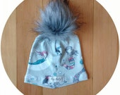 Baby Hat - Organic Pom Beanie Toque - Mermaid Love - Newborn