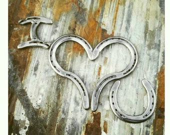 Horse decor, country home decor, horseshoe heart wall decor, wedding gift, horseshoe art, horseshoe wedding, custom sign western wedding