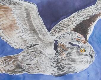 Birds of Prey Hand Painted Silk Scarf