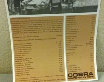 1965 Shelby Cobra 289 Dealer Spec Sheet 90's Reproduction, Mint Condition