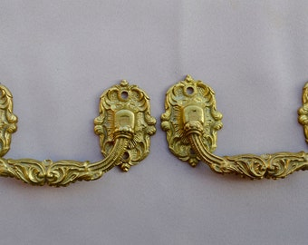 French Antique Large Pair of Piano Handles by E Muller - Antique Gilded Bronze Hardware 19th.c - PARIS - Furniture Ornament