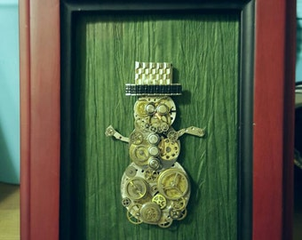 Steampunk industrial Snowman Christmas decoration wall hanging