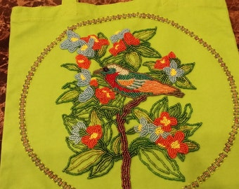 bird and with flowers bag