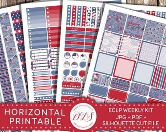 4th of July Planner Stickers HORIZONTAL USA Stickers Blue Red White USA Patriotic Independence Day Stickers Weekly Planner Printable Hs104