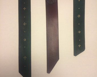 Leather and gold bookmarks