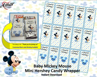 SALE! Mini Hershey Candy Wrappers - Baby Mickey Mouse - Baby Shower Candy Wrappers