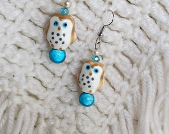 Little Owl Earrings, Dangle earings