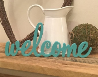 Welcome Wood Letters Free Standing Wood Letters Unfinished Wood Letters Home Decor Calligraphy Welcome Wreath Word Wall Decor Wood Word