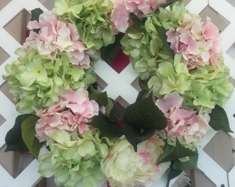 Pink and Green Hydrangea Wreath
