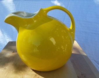 Vintage Hall Yellow Tilt Ball Pitcher with Ice Lip - Circa 1950