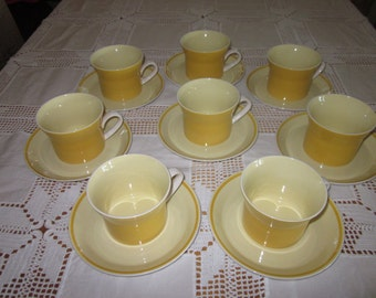 1970's Mikasa HILO Bright Sunny Yellow set of 8 Cups and Saucers C4300 Pattern