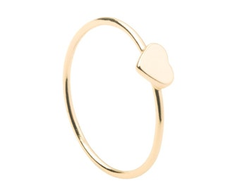 Heart gold ring - Minimalist ring - Dainty ring - 18k gold filled ring - Delicate ring - Tiny ring - stacking ring - Minimalist jewelry
