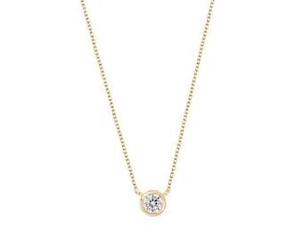 Solitary necklace - Gold dot cz necklace - Silver zirconia necklace - Dainty necklace - Minimalist necklace - Minimalist jewelry