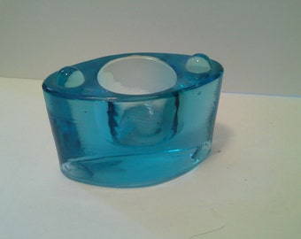Oval blue glass candle holder?