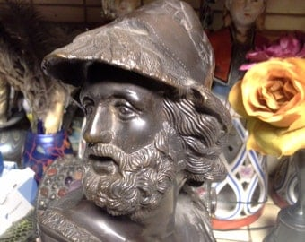 Man with beard....bronze patina metal statue