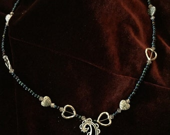 Paisley Pendant necklace with hearts