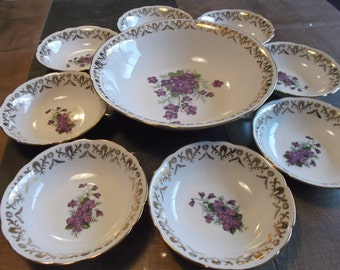 full dessert, purple décor, national company of French porcelain service