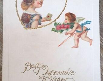 Antique Victorian Era Cupid Postcard Early 1900's