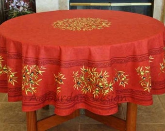 French Christmas Tablecloth Petite Olive Red Round Cotton   Napkins  Available   French Country Christmas Holidays