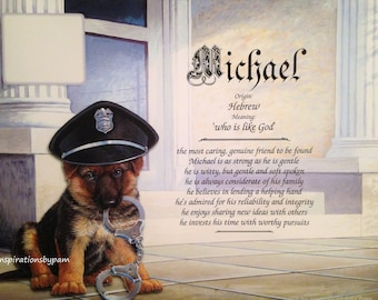 Michael First Name Meaning Art Print-Name Meaning Print-Police Puppy Art-Personalized-Home Decor-Birthday Gift