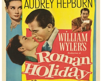 Vintage Roman Holiday Audrey Hepburn Movie Poster Print