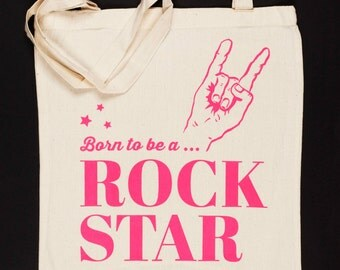 Tote bag pink - Born to be a rock star