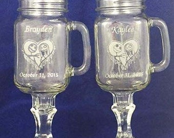 Nightmare Before Christmas Redneck Wine Wedding Glasses Engraved Personalized