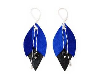Blue Tulip leather earrings
