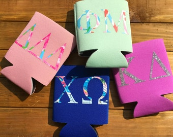 Greek Sorority Can Coolers! Preppy Lilly Pulitzer Print Or Glitter Coozie Back To School College Cozy Customized Chapter