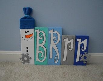 """Snowman """"Brrr"""" Wood Blocks"""