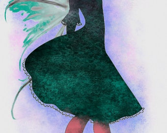 Fairy Girl, Art Print, Watercolor Art, Decor Art Print