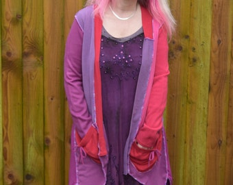 Boho style Patchwork Cardigan in pinks and purples