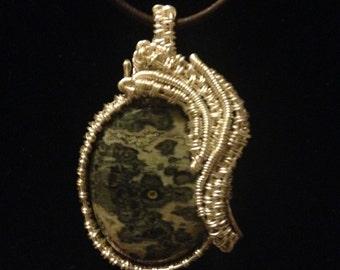 Ocean jasper wire wrap necklace
