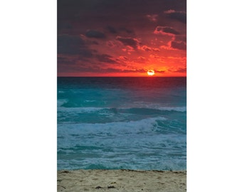 Sea Sunset Photo - Sea Photo - Sunset Photo - Vertical - Red Sun Photo - Digital Photo - Digital Download - Instant Download - Wall Decor