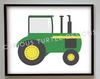 Green Farm Tractor Wall Art - PDF Digital Download