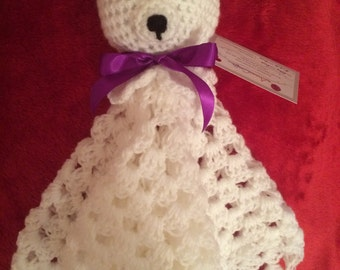 Crocheted bear comforter