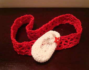 Headband with a Hand Crocheted Mary Jane Shoe!