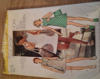 1970s Vintage Sewing Pattern Tunic Mini Dress and Bag