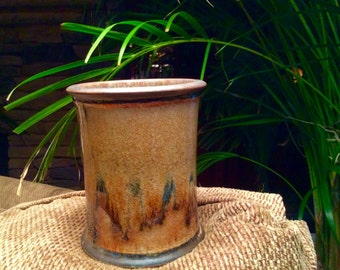 Utensil Holder, Handmade Pottery Utensil Holder, Glazed Stoneware
