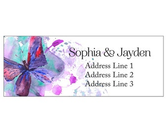 Set of 30 Personalized Return Address butterfly fuchsia turquoise Butterfly cute design PAL00002