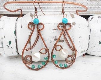 Wire wrapped earrings / wire wrapped jewelry handmade / pearl earrings / copper jewelry / earthy jewelry Wire jewelry / Drop  earrings