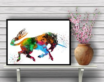 Colorful Unicorn, Mythical Animal, Mystical, Mythological Being art, Fantasy,Pure,watercolor wall art,  home decor,painting, gift, print(02)