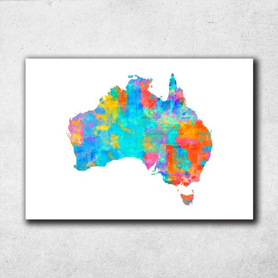 Australia Map Australian Map Wall Art Watercolor Print By